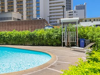 NEW LISTING! Central studio w/ shared pool, partial AC- beach across the street!