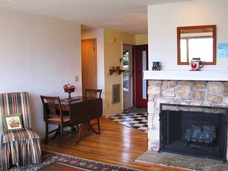 Cozy condo w/views of Grandfather Mountain, stone fireplace & secluded balcony