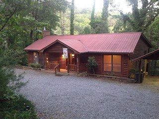 Toccoa River Front 4 Bedroom, 3 Bath Log Cabin with Hot Tub and Pool Table!