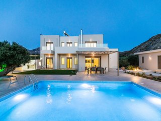 Anemolia, New, Luxurious villa with unique sea and mountain view, private pool