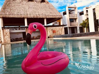 Mexican style Villa Kookay, 3br 4ba, W/ac, beach club, pool & more Yucatan coast