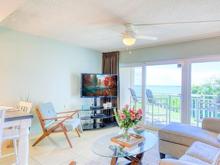 Living room with pullout sofa sleeper, gorgeous view of the ocean, 55' TV