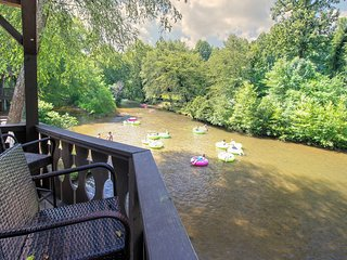 NEW LISTING! Riverfront, dog-friendly condo w/ private deck - in Helen!