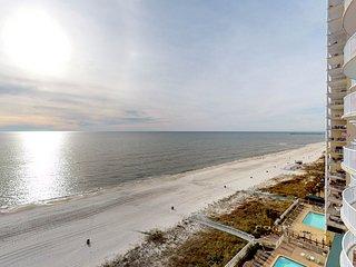 Beachfront condo in resort setting with shared lagoon pool