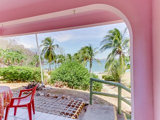 Beachfront condo w/ shaded patio & ocean view - steps to sand, walk to town!