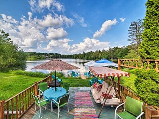 Poconos Lake Home w/Comm Pool, Paddle Boat & Dock!