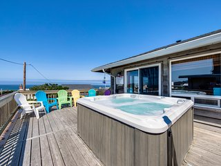 Dog-friendly home w/ private hot tub - one block from the beach!