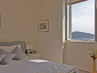 Master bedroom with incredible views of the old town, Lokrum Island and the ocean