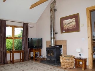 Alternative view of the living area with wood burning stove