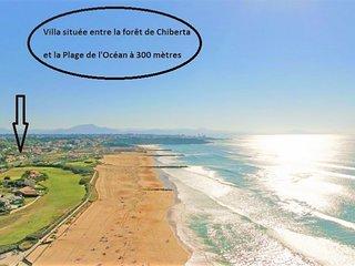 Villa à 5 minutes des plages à pied, piscine chauffée, golf, tennis, thalasso