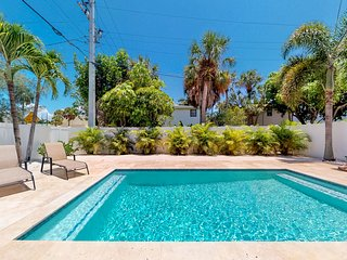 Pet-friendly home with private pool, short walk to the beach