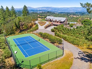 Exquisite vineyard estate on 55 acres w/ pool, tennis, bocce & amazing views!