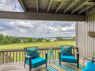 Dog-friendly, waterfront townhome w/ shared tennis court, decks, & great views!