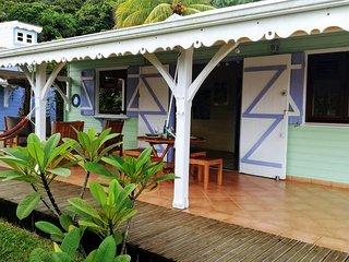 La terrasse de la maison. La maison bleue c'est la notre. Nous serons disponible pour vos questions!