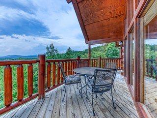 Mountain view cabin w/ private hot tub, pool table, & shared pool - two dogs OK!