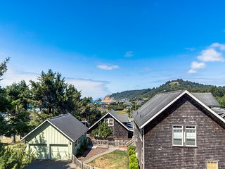 Dog-friendly, ocean view home w/ private hot tub & Ping-Pong - walk to beach!