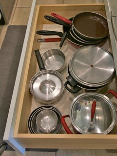 Pots and pans available for your cooking pleasure.