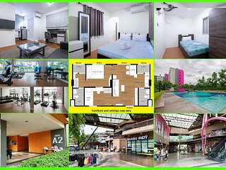 Family Apartment 'My Home In Bangkok' C3/223 swimming pool, gym, courts, etc