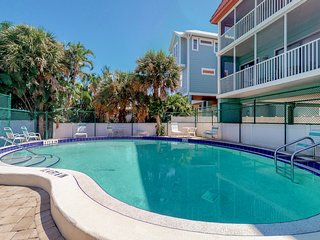 Lovely condo with beach and ocean views, across the street from the beach.
