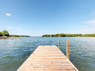 Waterfront cabin on two acres with dock and firepit!