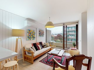 Colorful downtown apt. w/beautiful city views from private balcony.