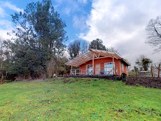 Convenient lakefront cabin w/wood fireplace, garden and Puyehue Lake views!