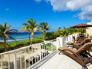 Stunning Caribbean Sea views from the long balcony.