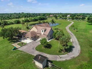 Rural home on five acres outside of the Everglades w/ patio, pond, nature views