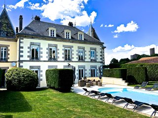 Luxury eight bedroom private chateau with heated pool in the centre of Chalus