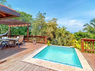Home w/ nature & ocean views, private pool, deck, hammocks - walk to the beach!