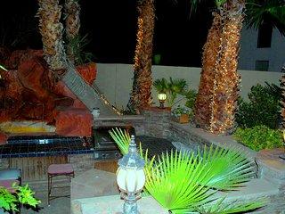 Barbecue area at night