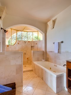 Upstairs Master Suite private bath with tub, indoor and outdoor showers and two sinks