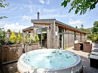 The Retreat, Strawberryfield Park - Contemporary open-plan lodge with wood burni