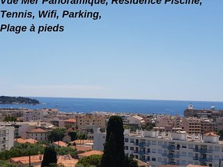 2P Famille Vue Mer, Piscine, Tennis, Wifi, Parking - Appartement a louer Antibes