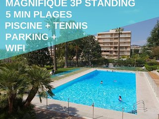 3P Famille, 5Min Mer, Piscine,Tennis Wifi Parking -Appartement a louer a Antibes