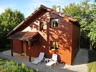 Wooden chalet in the woods of the beautiful Dordogne valley