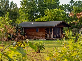 Glamping Cabin in the Forest with fenced in yard for dogs, priv hot tub, bkfst