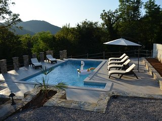 Holiday House Villa Brbon with outdoor pool, covered terrace, private location