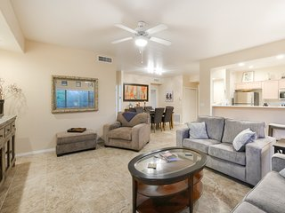 Newly renovated, second-floor condo with a shared hot tub and pool!