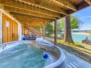 Beautiful lakefront home w/ a private hot tub, firepit, & game room - dogs OK!