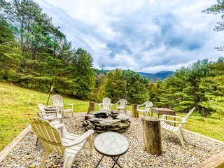 Cozy home w/ a firepit, gas grill, large deck, & beautiful mountain views