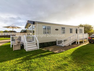 Platinum caravan for hire at Broadland sands holiday park with decking ref 20138