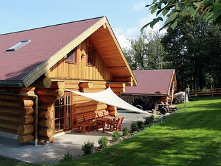 Modernly furnished wooden house with wood stove in the middle of Thuringia's hik