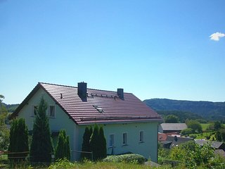 Holiday home in Saxon Switzerland with mountain view, terrace and garden