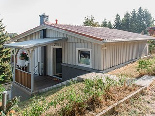 Detached holiday home in the Harz with a fireplace and covered terrace