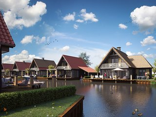 Luxious water villa with 3 bathrooms, at the Frisian Lakes