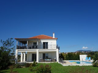 Luxurious villa with private swimming pool on the Greek Peloponnese peninsula.