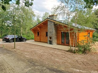 Modern, wooden chalet with dishwasher, located in the forest