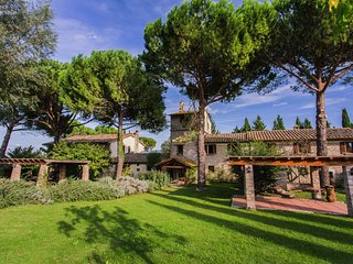 Agriturismo with swimming pool, in the hills between vineyards, olive groves and