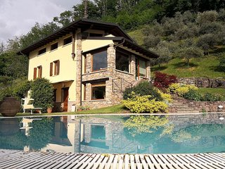 Apartment in 2-floor villa with swimming pool, equipped garden and lake view